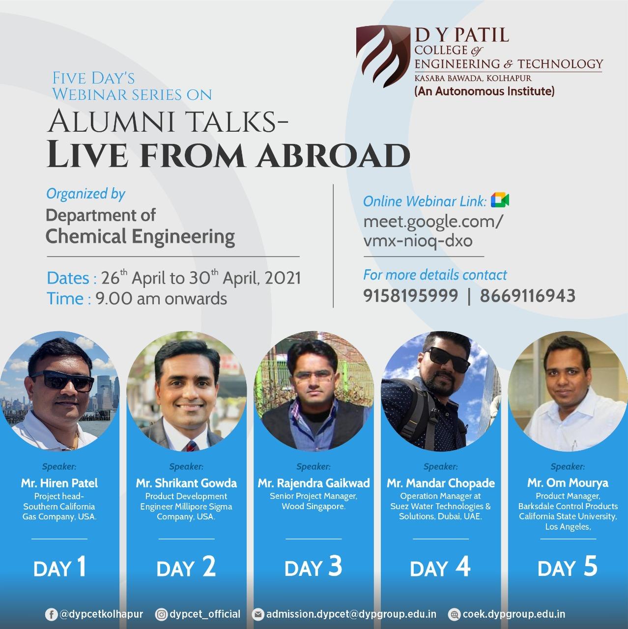 Five day webinar series on Alumni Talks - Live from abroad (1)