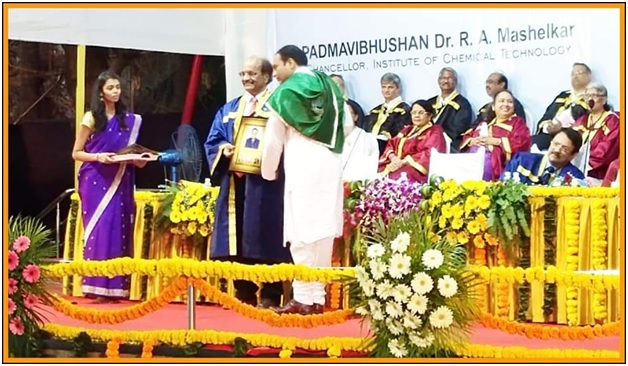 Dr. A. L. Jadhav receiving Ph. D degree in Chemical Engineering from Institute of Chemical Technology (ICT), Mumbai through hands of Hon. Padmashri. Dr. G. D. Yadav, Vis Chancellor ICT Mumbai.